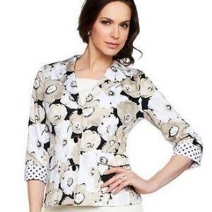 Joan Rivers Floral Blazer Tan & Black Jacket Plus